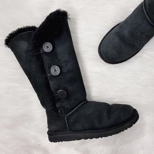 UGG Black Bailey Botton 3 Button Tall Boots Shoes
